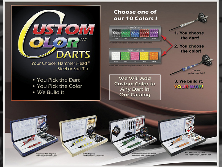 Custom Color Darts From Century Billiards on Long Island NY