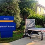 foldable outdoor ping pong table at Hofstra University